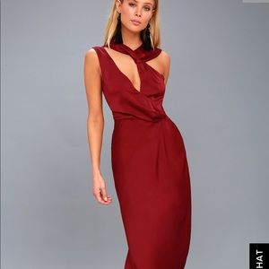 Elegant satin red cocktail dress on SALE